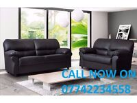 BRAND NEW LEATHER 3+2 LEATHER SOFA SUITE BLACK