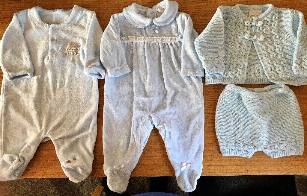 Newborn Boy Spanish bundle x2 blue velour all in ones, Knitted cardigan/shorts set also blue.