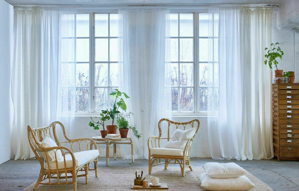 2 Ikea Lill White Room Divider Netting Curtain Panels 110x98 4 Panels For Sale Online Ebay