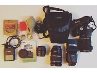 Canon EOS 500D camera with accessories, speedlite & 3 x lenses: complete package