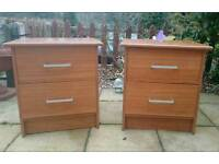 Pair of cherry effect bedside tables