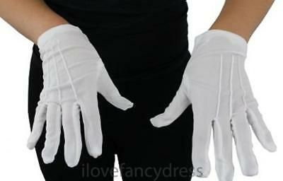 CHILDS SHORT WHITE GLOVES MAGICIAN FANCY DRESS MIME SANTA KIDS COSTUME ACCESSORY - White Magician Gloves