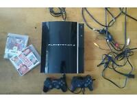 ps3 console, controller, games and cables