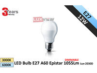 12W LED Bulbs E27 A60 Epistar 1055Lm 3000K-6000K Dimmable (Lux-2030D)