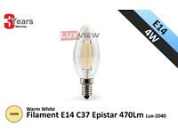 4W Filament C37 Candle E14 Epistar 470Lm 3000K Warm Light (Lux-2040)