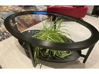 Black wood and glass coffee table for sale