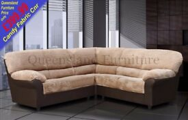 *COME AND VIEW IT ,TRY IT THEN BUY IT* BRAND NEW CANDY FABRIC CORNER SOFA SUITE BROWN/BEIGE