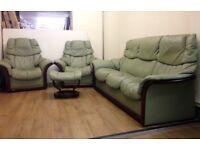 Ekornes STRESSLESS - GREEN LEATHER , Reclining 3+1+1 Sofa Suite + Footstool