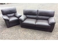 Dark brown leather two seater and recliner armchair