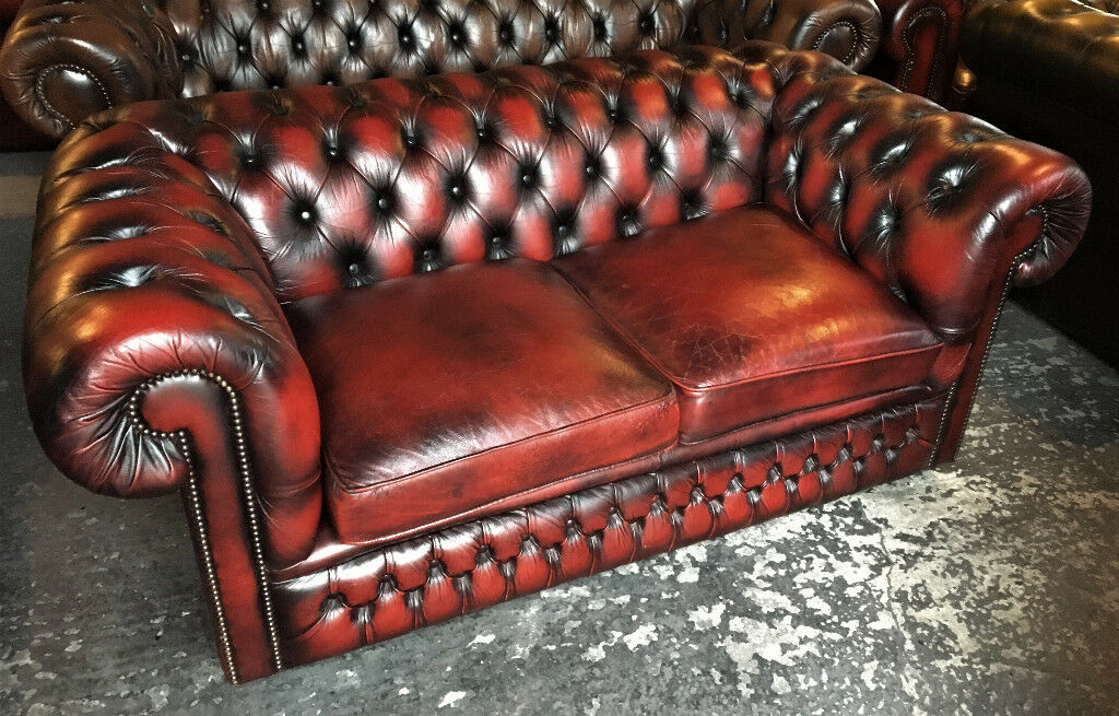 Oxblood Chesterfield Sofa 2 Seater
