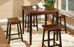 Brand-New Acacia 5-pc Tall Table Set (Table and 4 Stools) (T5-A53636-O)