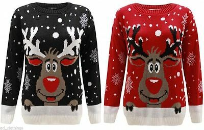 KIDS GIRLS BOY KNITTED REINDEER CHRISTMAS RUDOLF XMAS NOVELTY JUMPER SWEATER TOP](Boys Reindeer Sweater)