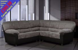 *COME AND VIEW IT ,TRY IT THEN BUY IT* BRAND NEW CANDY FABRIC CORNER SOFA SUITE BLACK/GREY