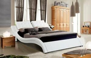 WHITE BEDROOM FURNITURE | WHITE LEATHER KING BED ONLY (GL2206)