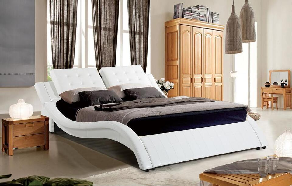 S White Bedroom Furniture | White Bedroom Furniture White Leather King Bed Only Gl2206