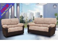 *COME AND VIEW IT ,TRY IT THEN BUY IT* BRAND NEW CANDY FABRIC 3+2 SOFA SUITE BROWN/BEIGE