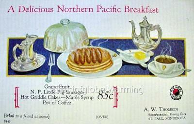 Old Print. Railroad Car - A Delicious Northern Pacific Breakfast
