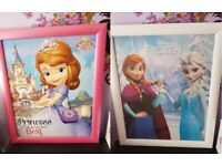 Sofia the first and Frozen wooden/glass picture frames