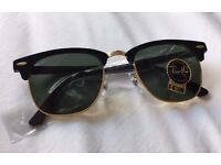 Ray-Ban Clubmaster Sunglasses Black and Gold (BRAND NEW)