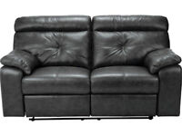 Cameron 3 Seater Leather Recliner Sofa - Black.