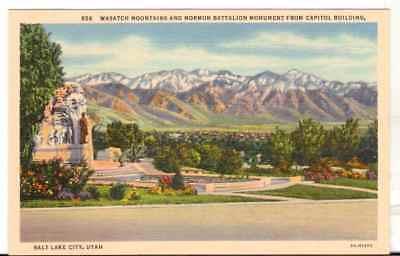 Undated Unused Postcard Wasatch Mountains Mormon Battalion Salt Lake City Ut