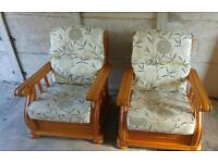 Pair of lounge or conservatory wooden chairs