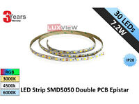 7.2W LED Strip SMD5050 30LED/M IP20 Double PCB Epistar (Lux-3040)