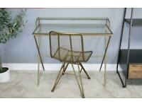 Distressed Gold Contemporary Style Desk / Dressing Table and Chair