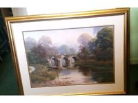 """RELAXING COUNTRYSIDE PICTURE IN LOVELY GOLD FRAME 32"""" X 25"""" (82CMS X 64CMS)"""