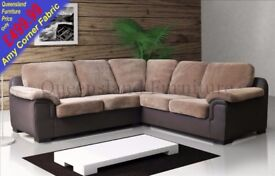 *COME AND VIEW IT ,TRY IT THEN BUY IT* BRAND NEW AMY FABRIC CORNER SOFA SUITE BROWN/BEIGE