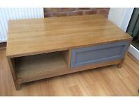Solid Oak & Grey Coffee Table, Unused !!
