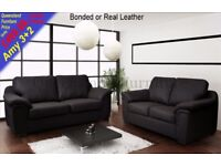 *COME AND VIEW IT ,TRY IT THEN BUY IT* BRAND NEW AMY LEATHER 3+2 SEATER SOFA SUITE BLACK