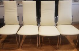 Set of 4 White Leather and Chrome Dining Chairs