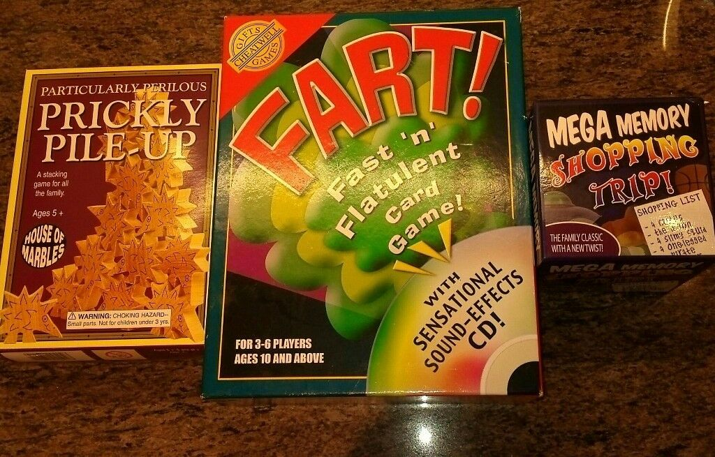 Fart!, Prickly Pile Up, Mega Memory Shopping Trip, 3 family games. Hardly used
