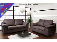 *COME AND VIEW IT ,TRY IT THEN BUY IT* BRAND NEW AMY LEATHER 3+2 SEATER SOFA SUITE BROWN