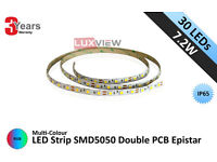 7.2W LED Strip SMD5050 30LED/M IP65 Double PCB Epistar - RGB (Lux-3090WP)