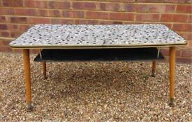 Retro Mosaic black & white table with wooden danset legs