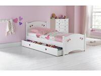 Mia Single Bed Frame w/Drawer - White