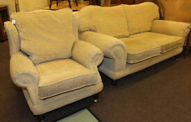 Barker & Stonehouse two seater settee and wing chair in light fabric