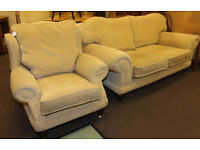 Sofa and armchair suite Barker & Stonehouse two seater settee and wing chair in light fabric