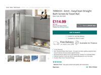 Bath Screen & Towel Rail. Brand New. In original packaging.