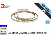 4.8W LED Strip SMD2835 60LEDs/M IP20 Double PCB Epistar (Lux-3010)