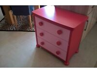 3 deep drawer chest in Hot Pink and Red ikea Mammut children's bedroom furniture unit selling £10