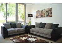 **7-DAY MONEY BACK GUARANTEE!** Benson Italian Jumbo Fabric 3 and 2 Sofa Set - NEXT DAY DELIVERY