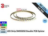 14.4W LED Strip SMD5050 60LED/M IP65 Double PCB Epistar (Lux-3100WP)