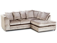 UK EXPRESS DELIVERY | DYLAN GOLD CRUSHED VELVET CORNER SOFA OR 3+2 SEATER | 1 YEAR WARRANTY