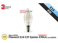 4W Filament C37 Candle E14 Epistar 470Lm 3000K Warm Light Dimmable (Lux-2045D)