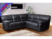 *COME AND VIEW IT ,TRY IT THEN BUY IT* BRAND NEW CANDY LEATHER CORNER SOFA SUITE BLACK