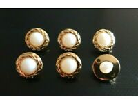 6 x 11mm Pale Gold Diamante Domed Shank Buttons  Dress Shirt Blouse Sewing Craft