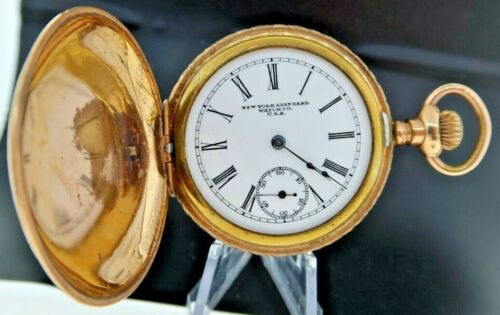 Antique 6 Size New York Standard Manual Wind Hunter Pocket Watch 10Y Gold Filled